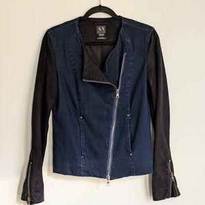 ARMANI EXCHANGE *L Jean & Faux Velvet Moto Jacket